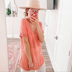 JOHNNY WAS Coral Lace Trim Tunic Blouse
